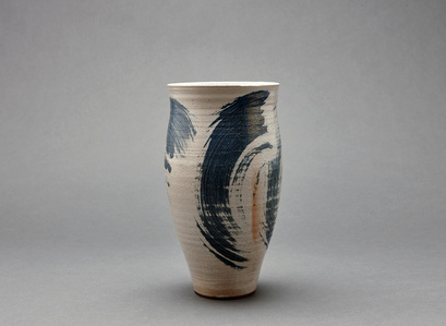 Cylindrical vase, petalite, feldspar, and oak ash glaze with engobe brushwork