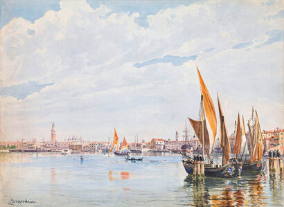 Sailboats in the lagoon of Venice