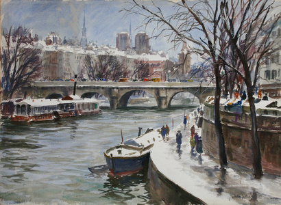 Winter on the Seine, Paris