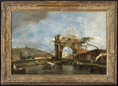 Capriccio with a classical ruined arch, river bank with fishermen, a temple beyond (a pair (2))