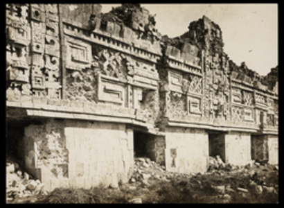 [Nunnery complex (Uxmal, Mexico): detail of facade frieze]