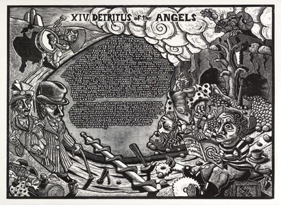 XIV. Detritus of the Angels                              The Book of Only Enoch, 2011-2014 A portfolio of 20 woodcuts drawn and cut by Jay Bolotin over a 4 year period