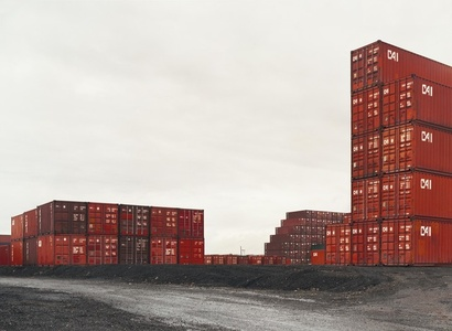 Untitled (red containers, stacked)