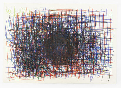 Untitled (Black circle over red and blue)