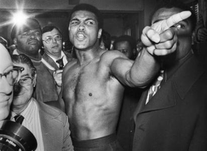 Ali vs. Frazier Ali pointing his finger 26,Manhattan, New York City, NY -January 23, 1974