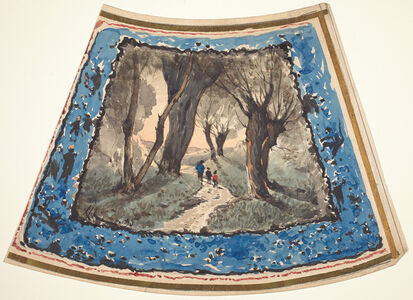Travelers on a Wooded Path with a Border of Whimsical Figures and Monkeys