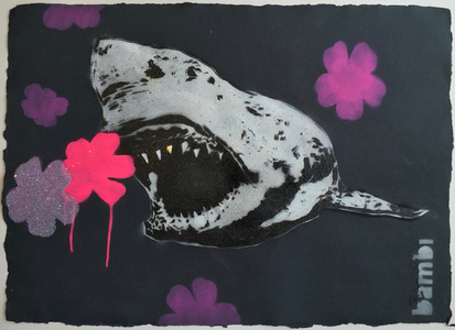 LOW AVAILABILITY Gold Tooth Shark with Pink and Purple Flower Power