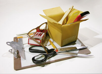 TOOLS OF THE TRADE:  CLIPBOARD WITH OPEN SCISSORS