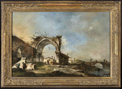 Capriccio with a ruined late Gothic arch, with fishermen on a bridge (a pair (2))
