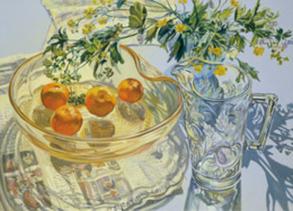 Yellow Glass Bowl with Tangerines