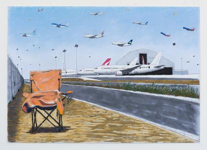LAX Qantas Hangar and Chair Looking Due North