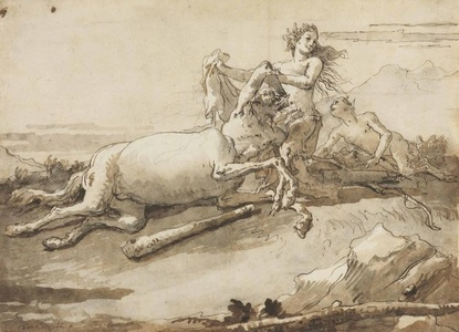 A centaur and a satyress at play
