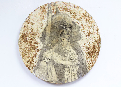 Jocasta, steward of New Thebes. A Portrait of tragedy and triumph with gold brushed on to hide the bruise. Messier no. 65