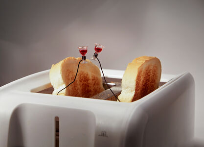 Toast Toasting in A Toaster