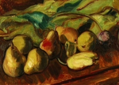Still Life of Pears and Tulips
