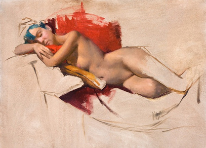 Sleeping Nude with Red and Green