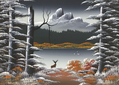 Untitled (Mountain lake nocturne with deer, blasted tree and three birds)