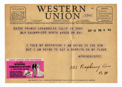 @frenchiefff from the series Random Tweets Reformatted as Telegrams
