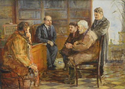 Peasants with Lenin