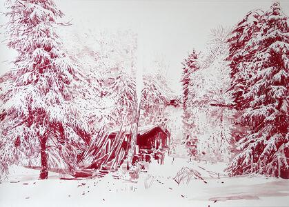 Rote Hütte am See