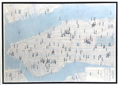 Shadows on Vintage NYC Street Map