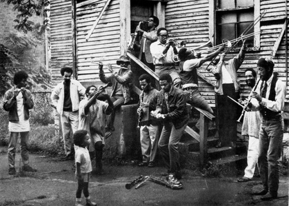 New Orleans-style group photo in painter Wadsworth Jarrell's backyard