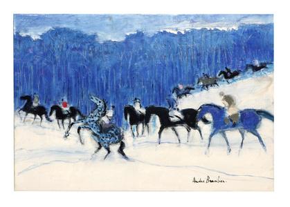 Petits cavaliers en forêt bleue