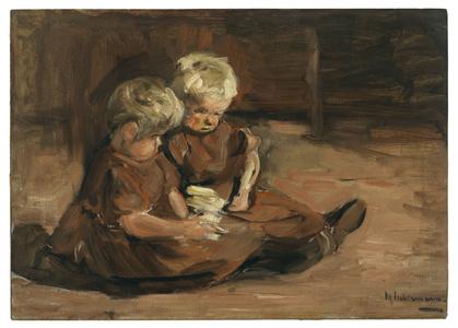 Spielende Kinder in einer Scheune