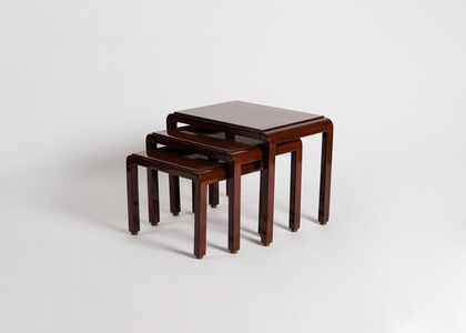 Set of three lacquered nesting tables