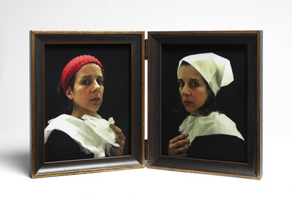 "Lavatory Self Portraits in the Flemish Style #20 and #21 (""Seat Assignment"" project, 2010--ongoing)"