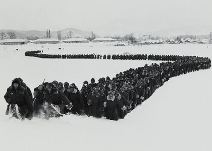 The newly created 'Japanese Police Force' moves out of camp for winter training, Hokkaido, Japan