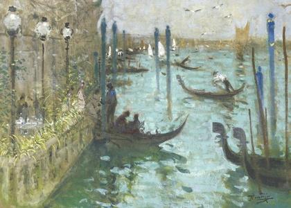 Venise, gondoles prés de l'embarcadère sur le Grand Canal