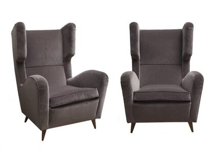 1950's Grey velvet pair of armchairs with wood feet.