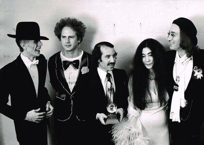 David Bowie, Art Garfunkel, Paul Simon, Yoko Ono, and John Lennon at the Grammy Awards, New York