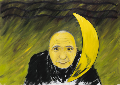 A man with the moon (The portrait of A. Monastyrski)
