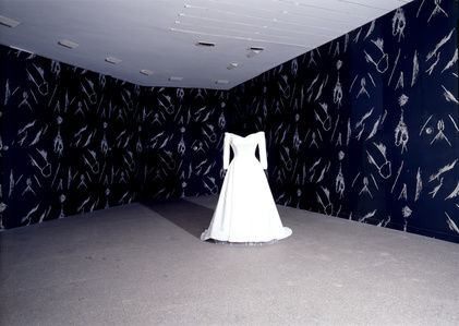 Gober Wedding Gown with Male/Female Genital Wallpaper (Installation View)