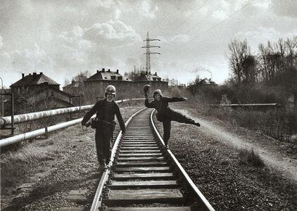 Untitled (Men on Railroad Tracks)