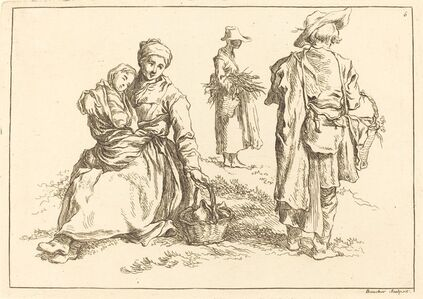 Seated Mother and Child, Two Standing Peasants