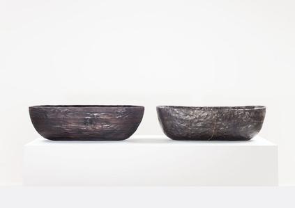 LaminatedPinewood Bowl, charred. Smolder-firedEarthenware Bowl, Crackedand Mended.