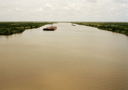 Untitled (Intercoastal Waterway with Red Barge)