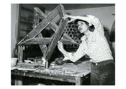 Monir Shahroudy Farmanfarmaian in her studio working on Heptagon Star, Tehran, 1975