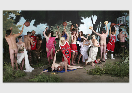 Self-portrait as Bulls fan in La Jeunesse de Bacchus by William-Adolphe Bouguereau / Michael Jordan basketball painting by dosysod of the Independents (Art History series)