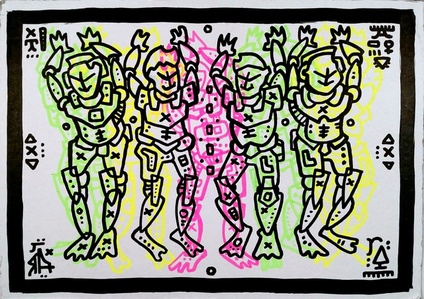 Celebrating People as Fluorescent Drawing Pattern