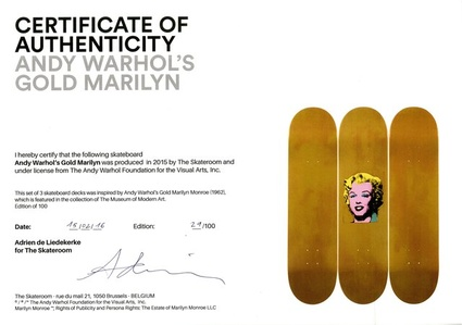 Gold Marilyn Monroe (Limited Edition Set of Skateboards with signed COA)