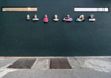 Seven sculptures on the gallery facade, Summer 2017