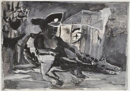 Cairo Series #1, Cairo Egypt, the military riding the crocodile like animal the god of underworld