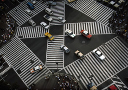 JAPAN. A painted pedestrian crosswalk in downtown Tokyo