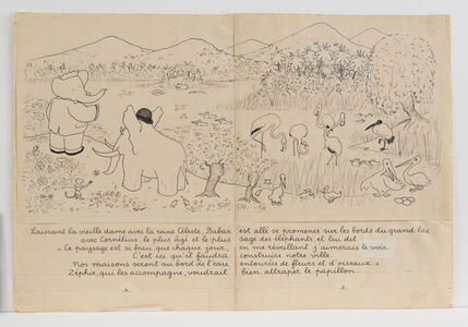 """Babar has gone for a walk along the banks of a large lake...,"" illustration for Babar the King"