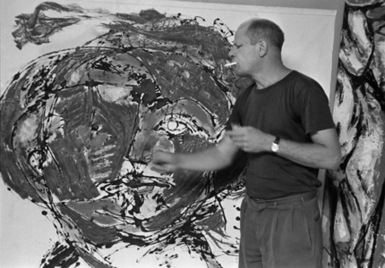 Jackson Pollock painting at his home, East Hampton, 1953