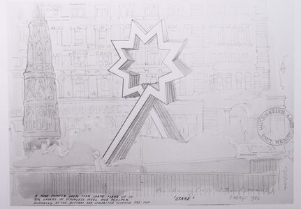 Photograph of a drawing for 'Starhead' project for Charing Cross station, London